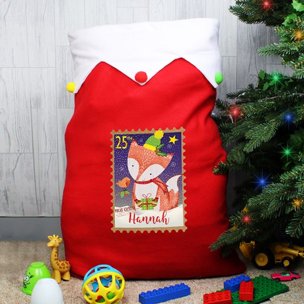 Personalised Festive Fox Multicoloured Pom Pom Sack
