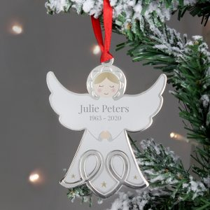 Personalised Memorial Angel Metal Decoration