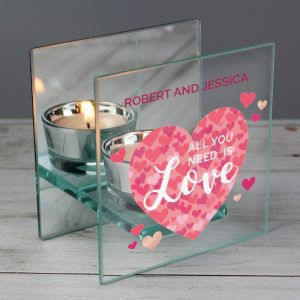 Personalised 'All You Need is Love' Glass Tea Light Candle Holder