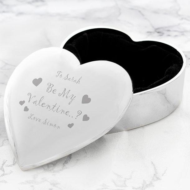 Personalised Be My Valentine Heart Trinket Box