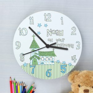 Personalised Boys Christening Large Wooden Clock