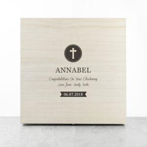 Personalised Christening Cross Message Memory Box