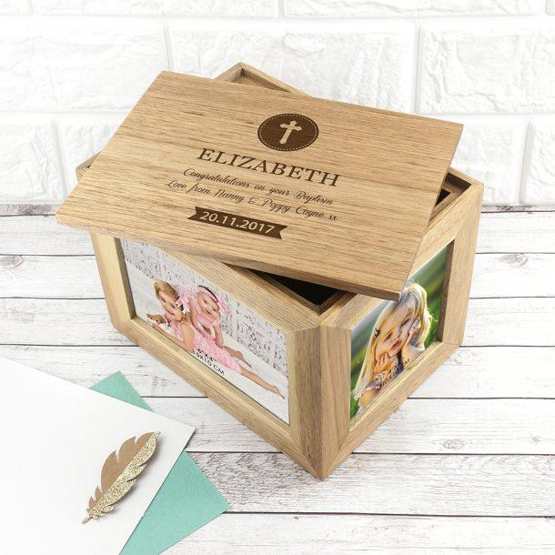 Personalised Christening Cross Midi Oak Photo Cube & Keepsake Box