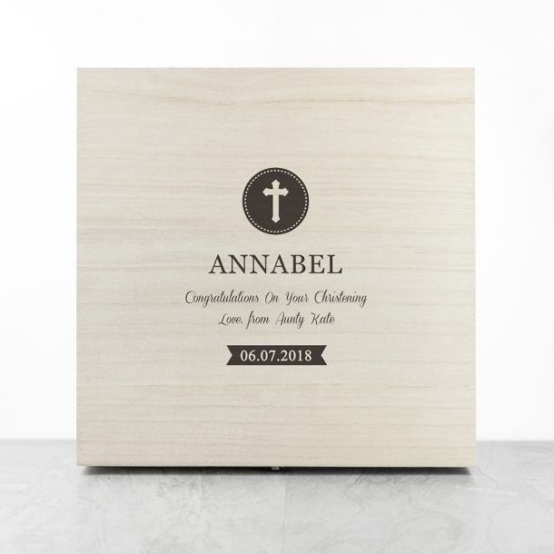 Personalised Christening Message Memory Box