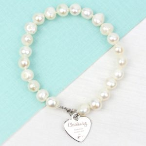 Personalised Christening Swirls & Hearts Pearl Bracelet