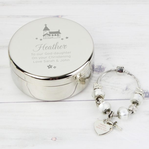 Personalised Church Trinket Box & White Cross Charm Bracelet