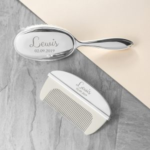 Personalised Classic Silver Plated Baby Brush & Comb Set
