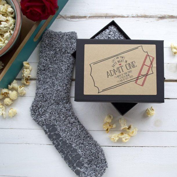 Personalised Date Night In Gift Box & Slipper Socks