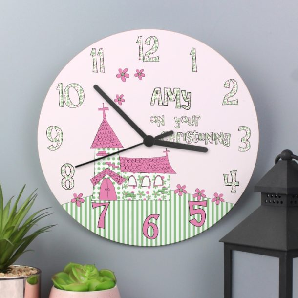 Personalised Girls Christening Large Wooden Clock
