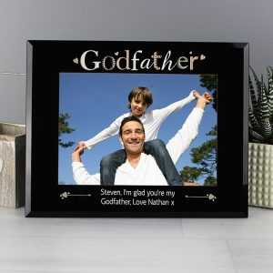 Personalised Godfather Black Glass 7x5 Photo Frame