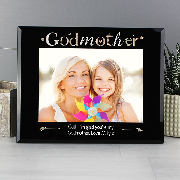Personalised Godmother Black Glass 75 Photo Frame Love My Gifts