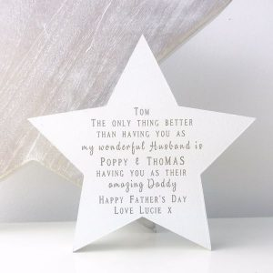 Personalised Husband & Daddy Freestanding Star