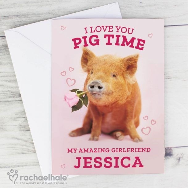 Personalised 'I Love You Pig Time' Card