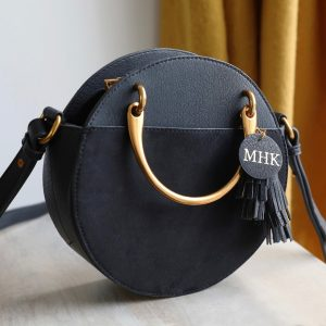 Personalised Initials Black Ladies Handle & Shoulder Bag