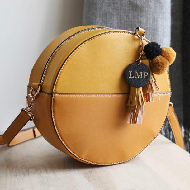 Personalised Ladies Round Mustard Shoulder Bag & Pompom Tassels