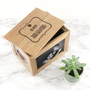Personalised Little Acorn Midi Oak Photo Cube & Keepsake Box