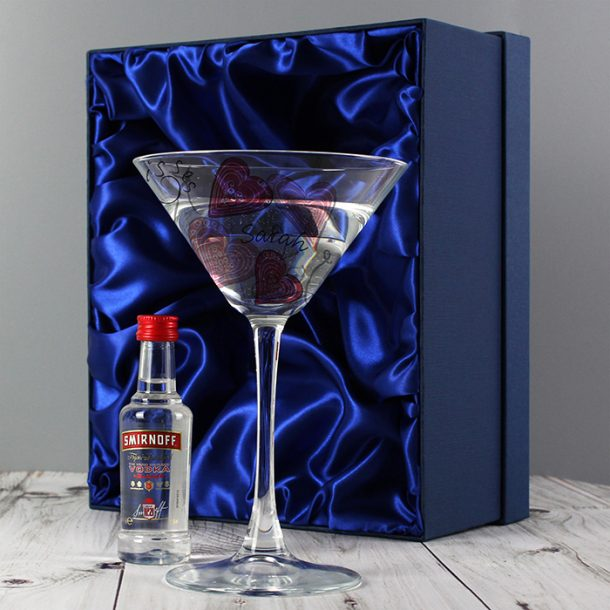 Personalised Love & Kisses Cocktail Glass & Vodka