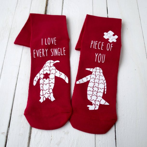Personalised Love You To Pieces Penguin Jigsaw Socks