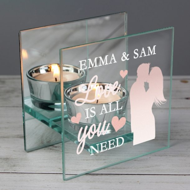 Personalised 'Love is All You Need' Glass Tea Light Holder