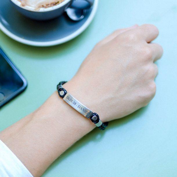 Personalised Men's Black Leather & Brushed Bar Bracelet