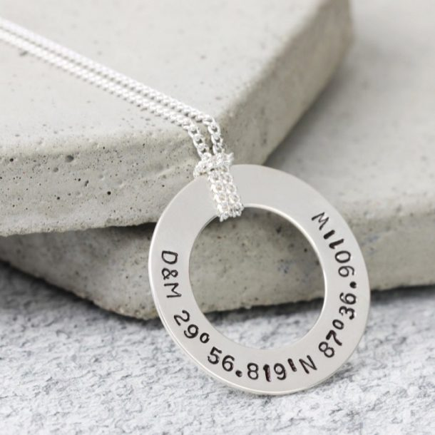 Personalised Men's Sterling Silver Flat Disc Necklace