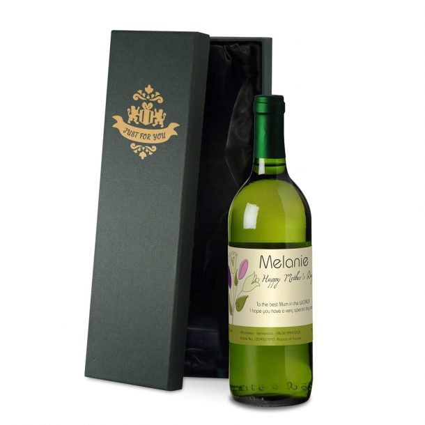 Personalised Mother's Day Bouquet White Wine & Gift Box