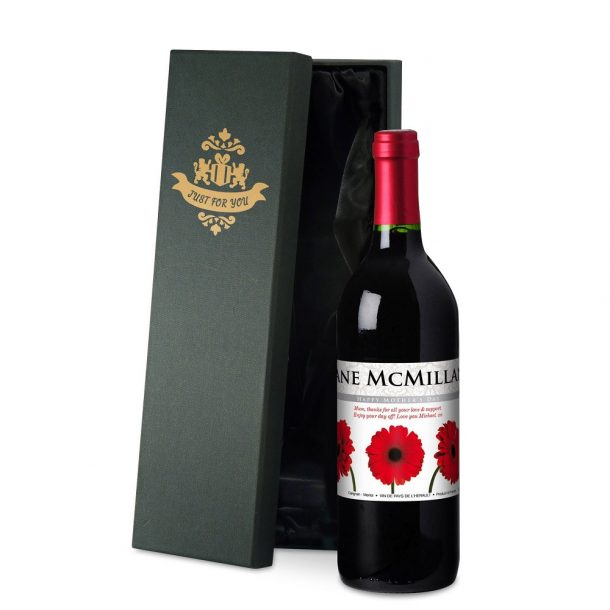 Personalised Mother's Day Gerberas Red Wine & Gift Box
