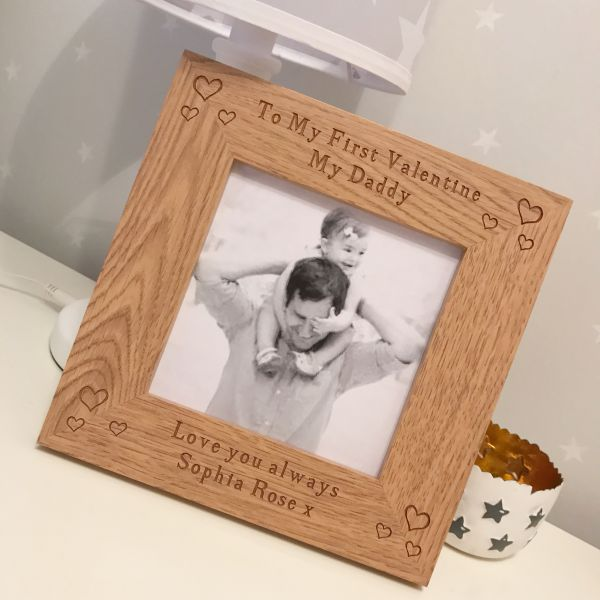 Personalised My Daddy My First Valentines Wooden Frame