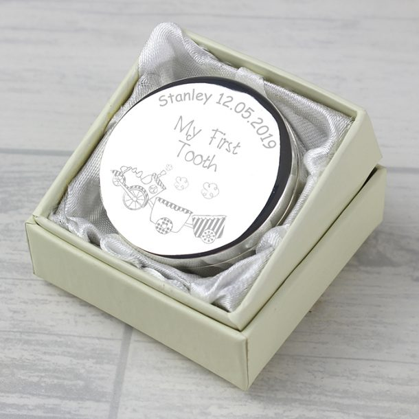 Personalised Train My First Tooth Trinket Box