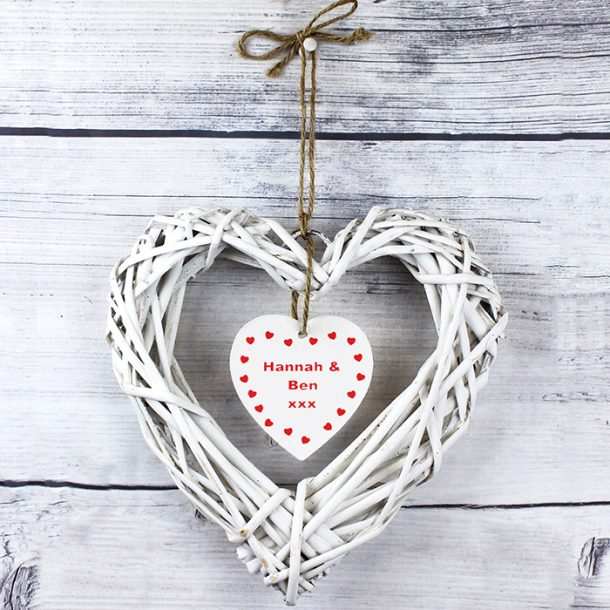 Personalised Valentines Wooden Wicker Heart