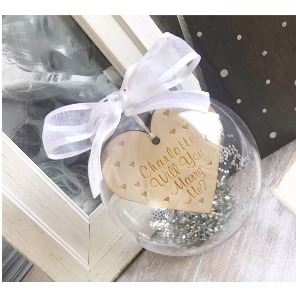Personalised Will You Marry Me 10cm Bauble