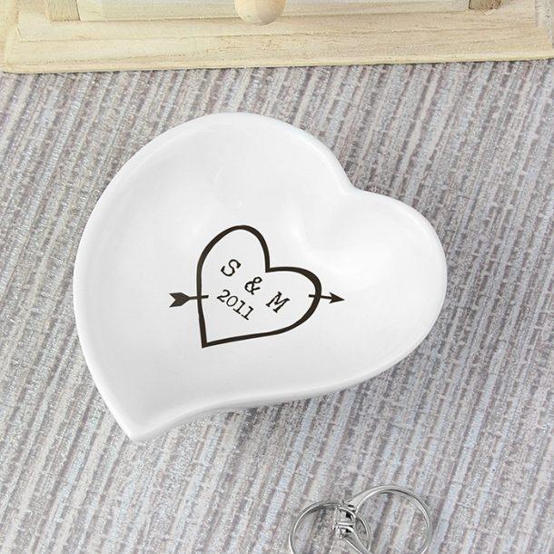 Personalised Wood Carving Ceramic Ring Dish