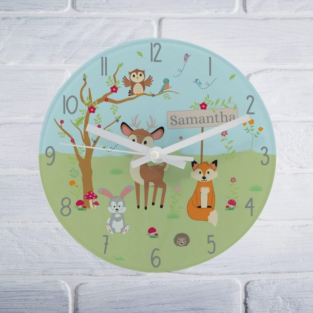 Personalised Woodland Glass Clock