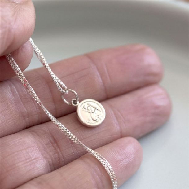 Tiny Sterling Silver St Christopher Necklace & Gift Box