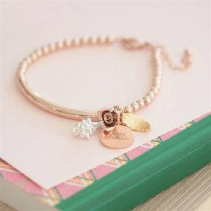 Personalised Bouquet Rose Gold Bracelet