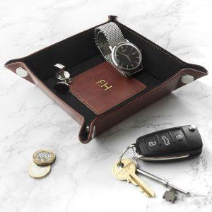 Personalised Brown Luxury Valet Tray