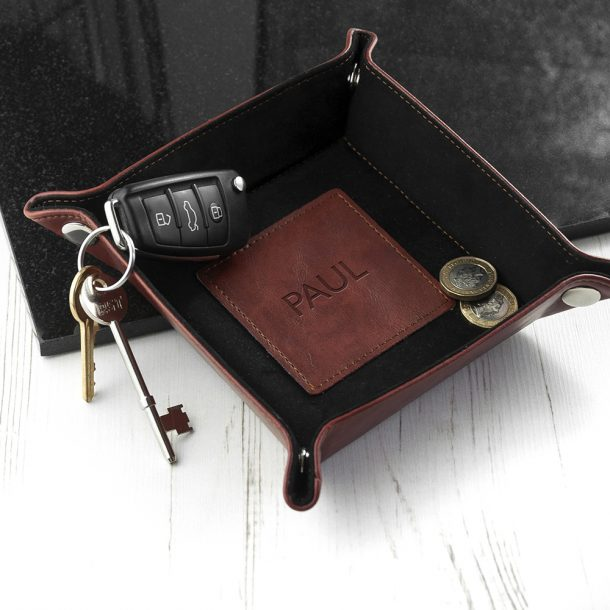 Personalised Brown Luxury Valet Tray