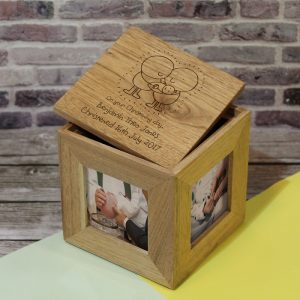 Personalised Chilli & Bubbles Christening Wooden Photo Cube
