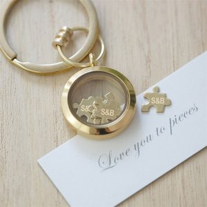 Personalised Gold 'Love You To Pieces' Keyring