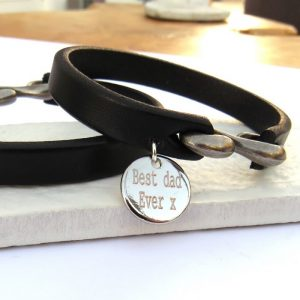 Personalised Men's Leather Strap Bracelet