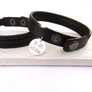 Personalised Men's Leather Trio Bracelet