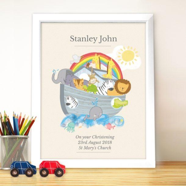 Personalised Noahs Ark White Framed Poster Print