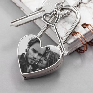 Personalised Photo Upload Heart Padlock