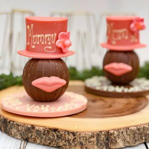 Personalised Pink Hat & Lips On A Chocolate Round