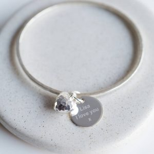 Personalised Puffed Heart Hammered Silver Bangle