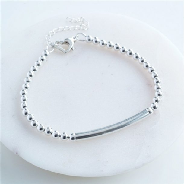 Personalised Silver Heart Clasp Bracelet