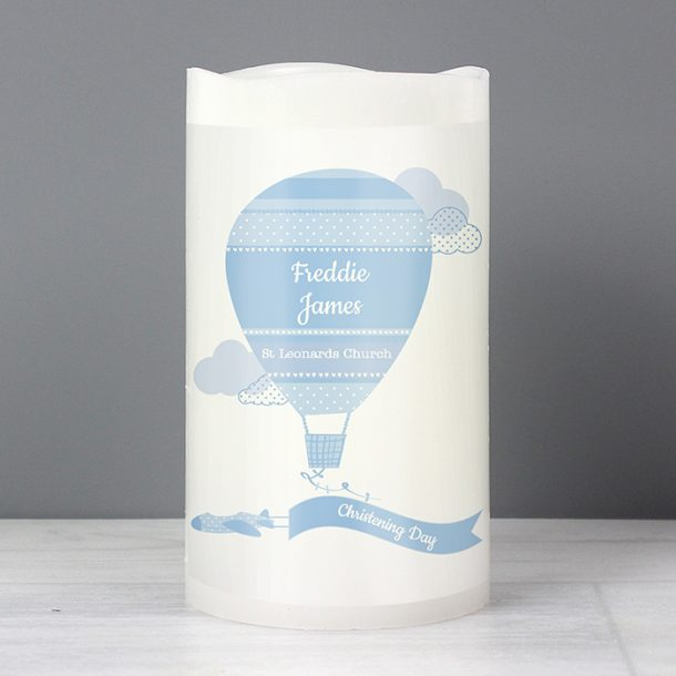 Personalised Up & Away Baby Boy Nightlight LED Candle
