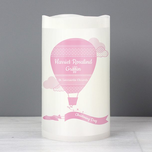 Personalised Up & Away Baby Girl Nightlight LED Candle