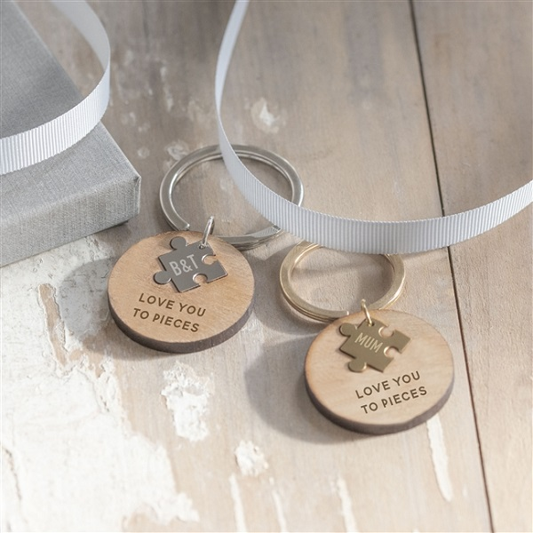 Personalised Wooden 'Love You To Pieces' Keyring