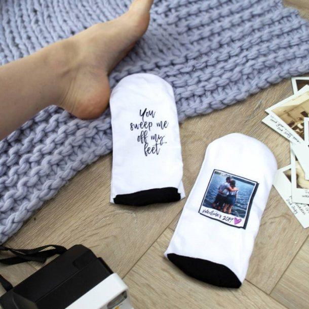 Personalised You Sweep Me Off My Feet Photo Socks